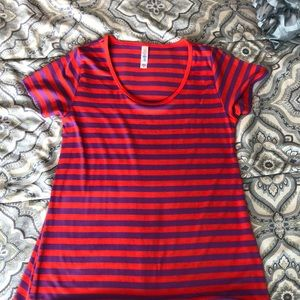 Lularoe Orange & Purple striped XS Perfect Tee